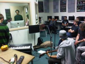 Students record in the school studio.