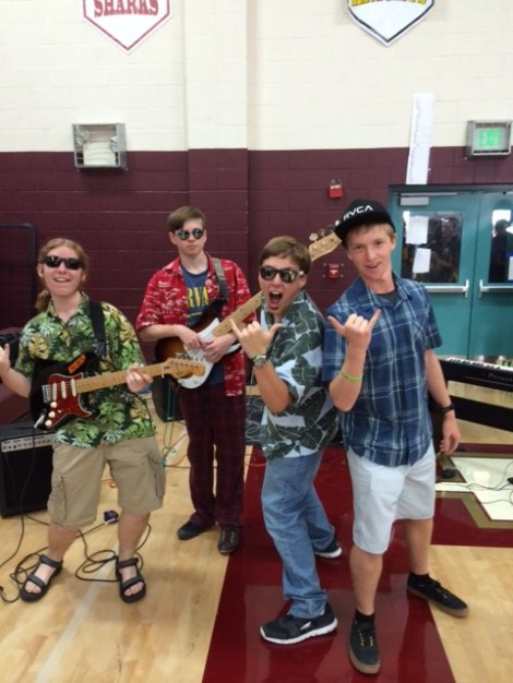 Some members of the Scotts Valley High School Band rock the rally on Friday with their rendition of Pipeline!